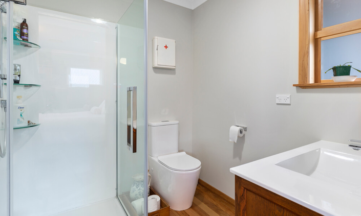 toilet with timber floor